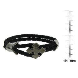 Black Leather and Black-plated Arrow Cross Braided Bracelet