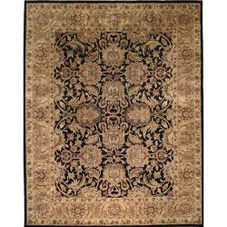 Safavieh Handmade Traditions Black/ Light Brown Wool Rug (9'6 x 13'6)