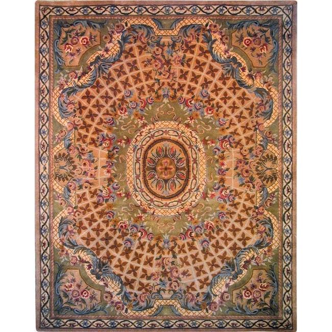 Safavieh Handmade Classic Empire Taupe/ Light Green Wool Rug - 9'6 x 13'6