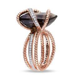 18k Pink-gold Plated Silver 11ct Smokey Quartz 1/3ct TDW Ring (G-H, I1)