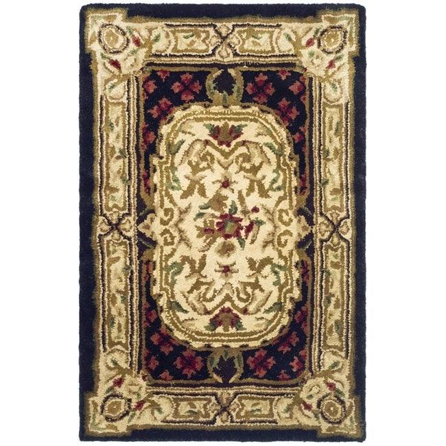 Safavieh Handmade Classic Black/ Beige Wool Rug (2' x 3')