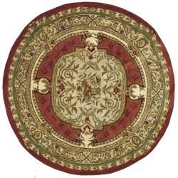 Safavieh Handmade Classic Burgundy/ Beige Wool Rug (5' Round)