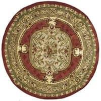 Safavieh Handmade Classic Burgundy/ Beige Wool Rug - 5' x 5' round