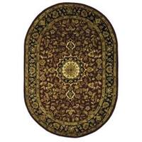 "Safavieh Handmade Classic Birjand Red/ Navy Wool Rug - 7'-6"" X 9'-6"" Oval"