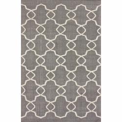 nuLOOM Handmade Flatweave Marrakesh Trellis Grey Wool Rug (7'6 x 9'6)
