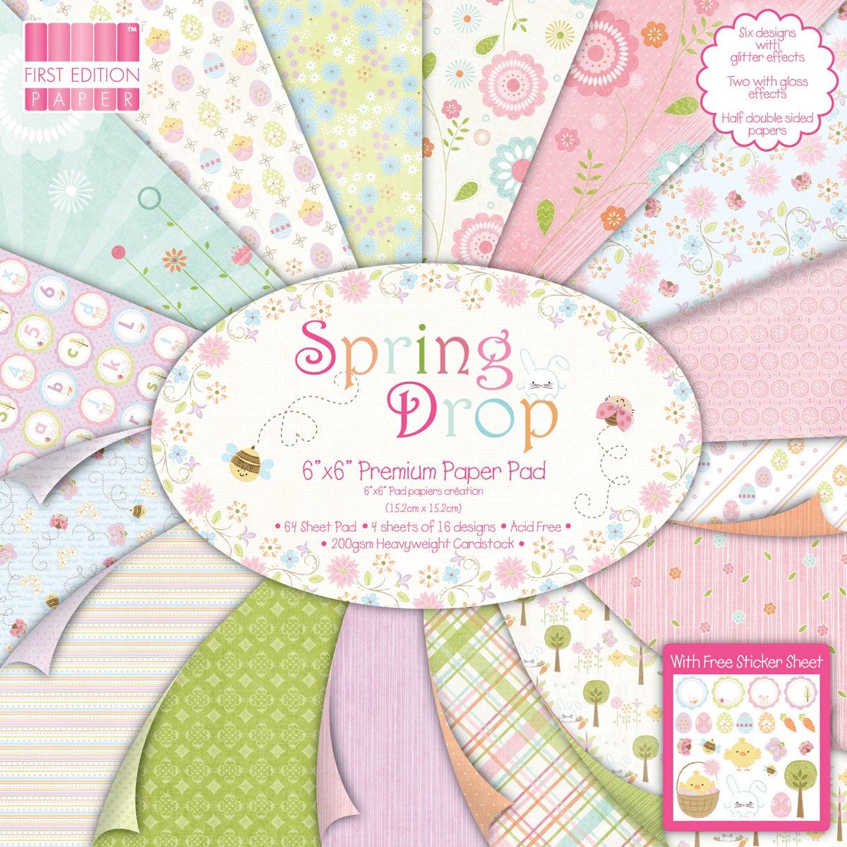 "Premium Paper Pad 6""X6"" 64/Sheets-Spring Drop"
