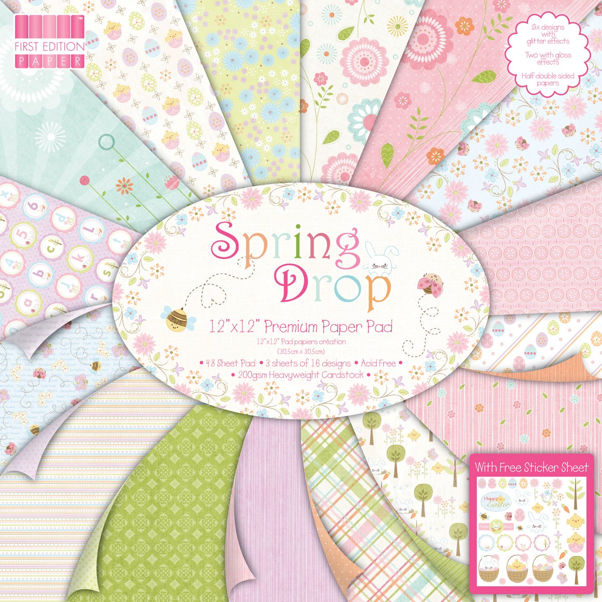 "Premium Paper Pad 12""X12"" 48/Sheets-Spring Drop"