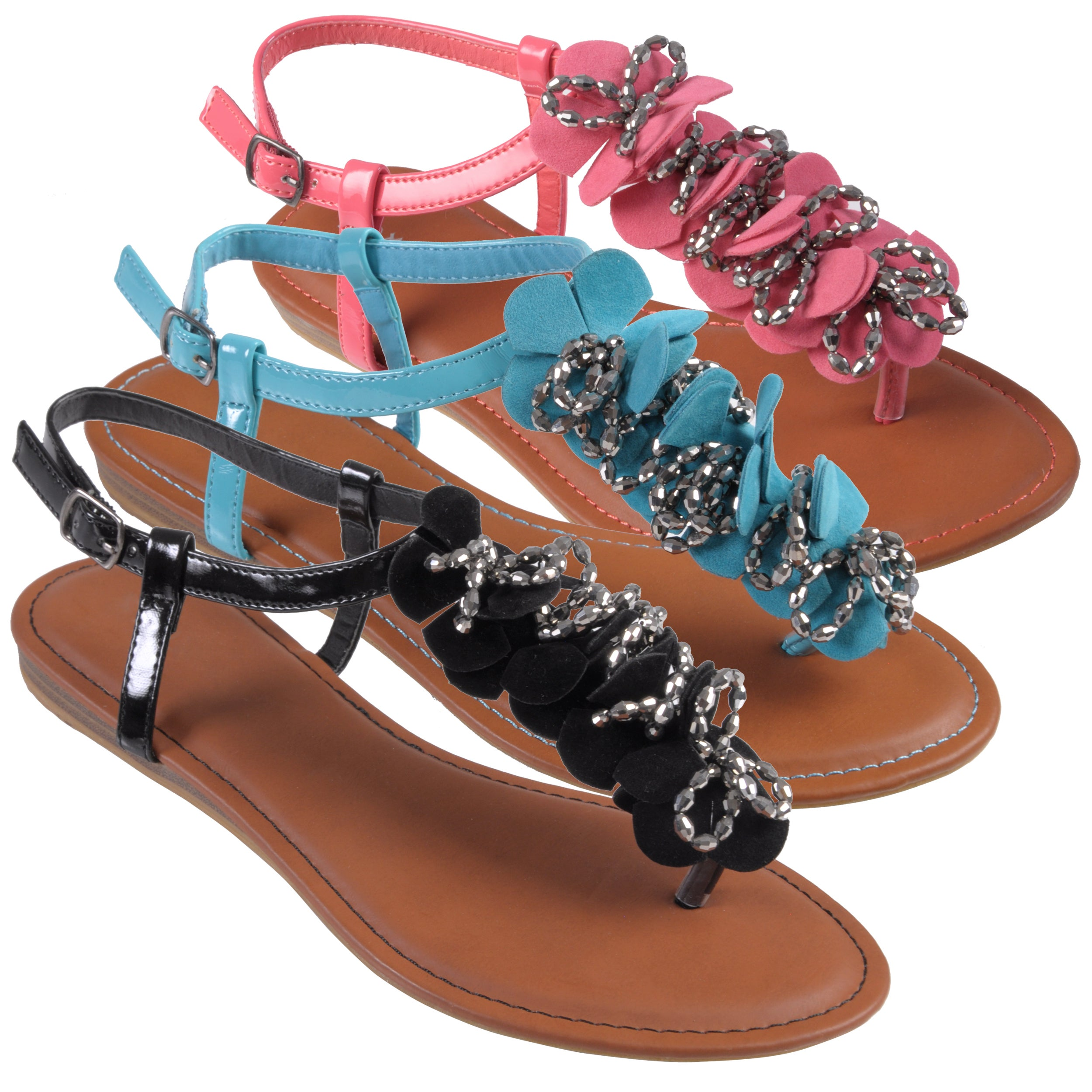 Journee Collection Women's 'Ashley-34' Embellished T-strap Sandals