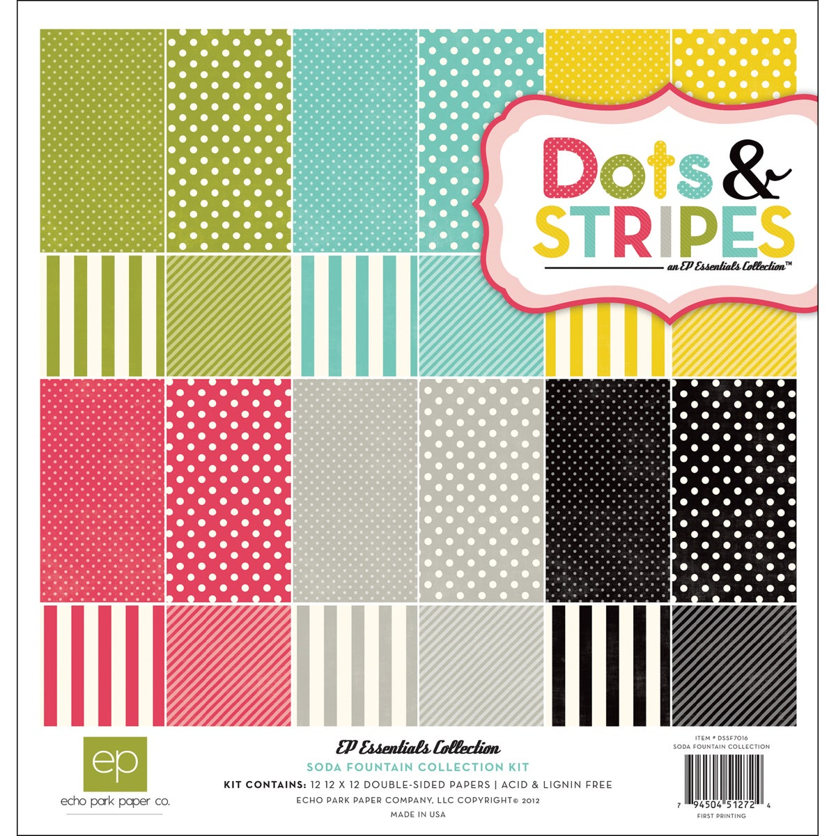 "Dots & Stripes 2 Soda Fountain Collection Kit 12""X12"""