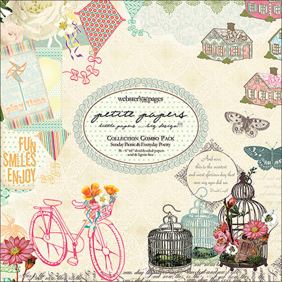 """Petite Papers Pad Collection Combo 6""""X6""""-Sunday Picnic/Everyday Poetry"""