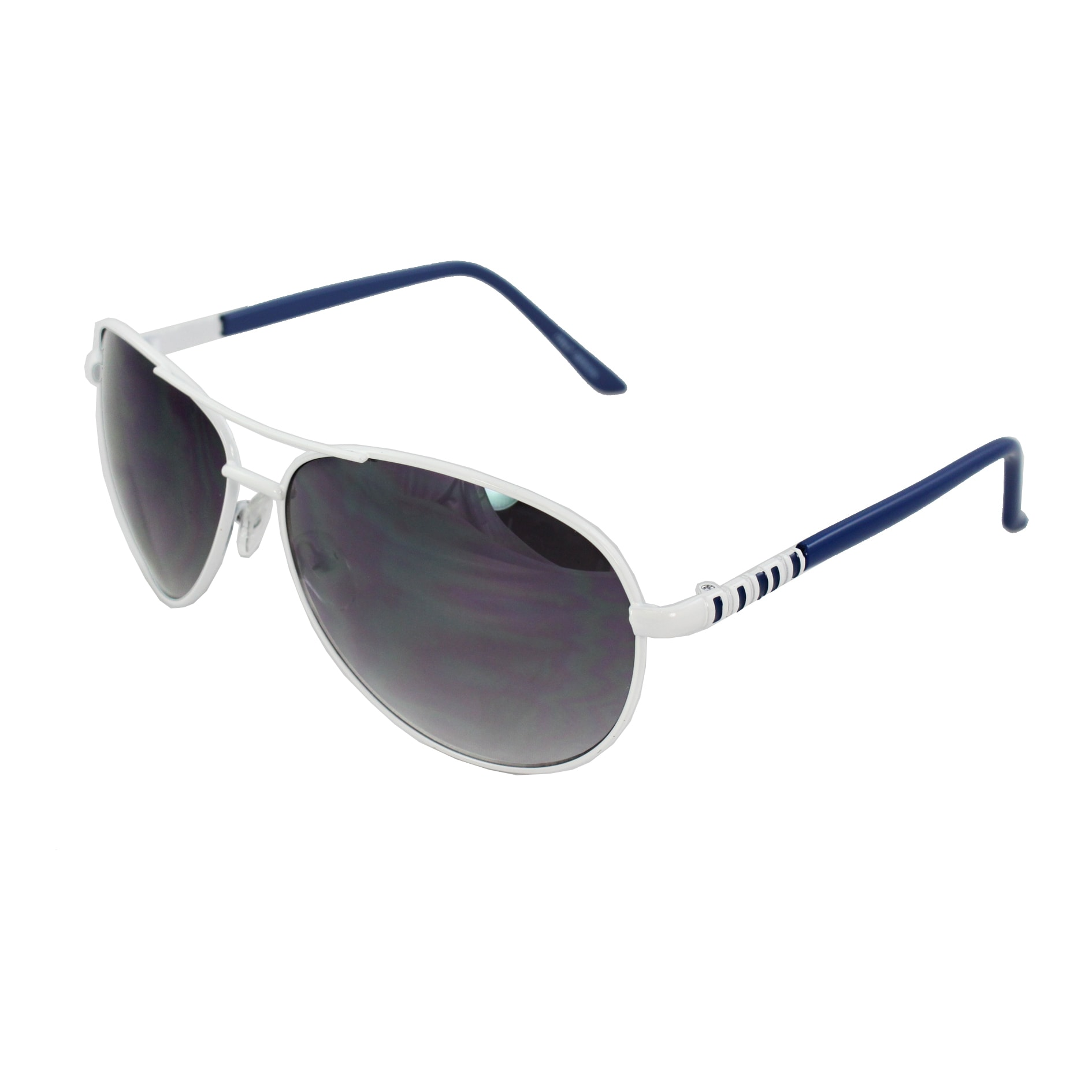 Pilot Fashion Aviator Sunglasses White and Blue Frame Purple Black Lenses for Men and Women