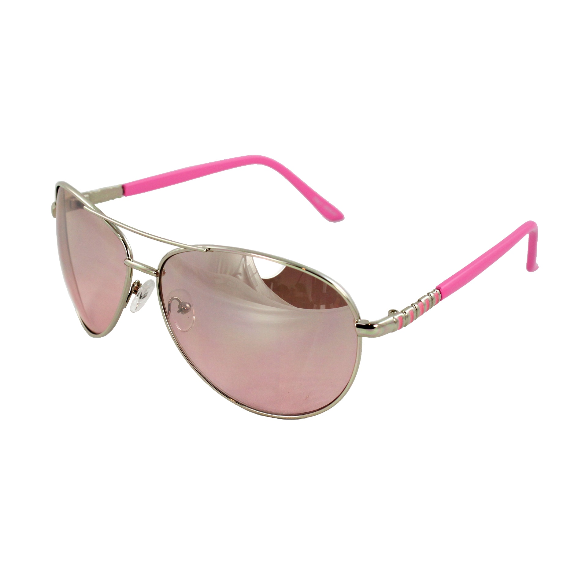 Pilot Fashion Aviator Sunglasses Silver and Pink Frame Pink Gradient Lenses for Men and Women