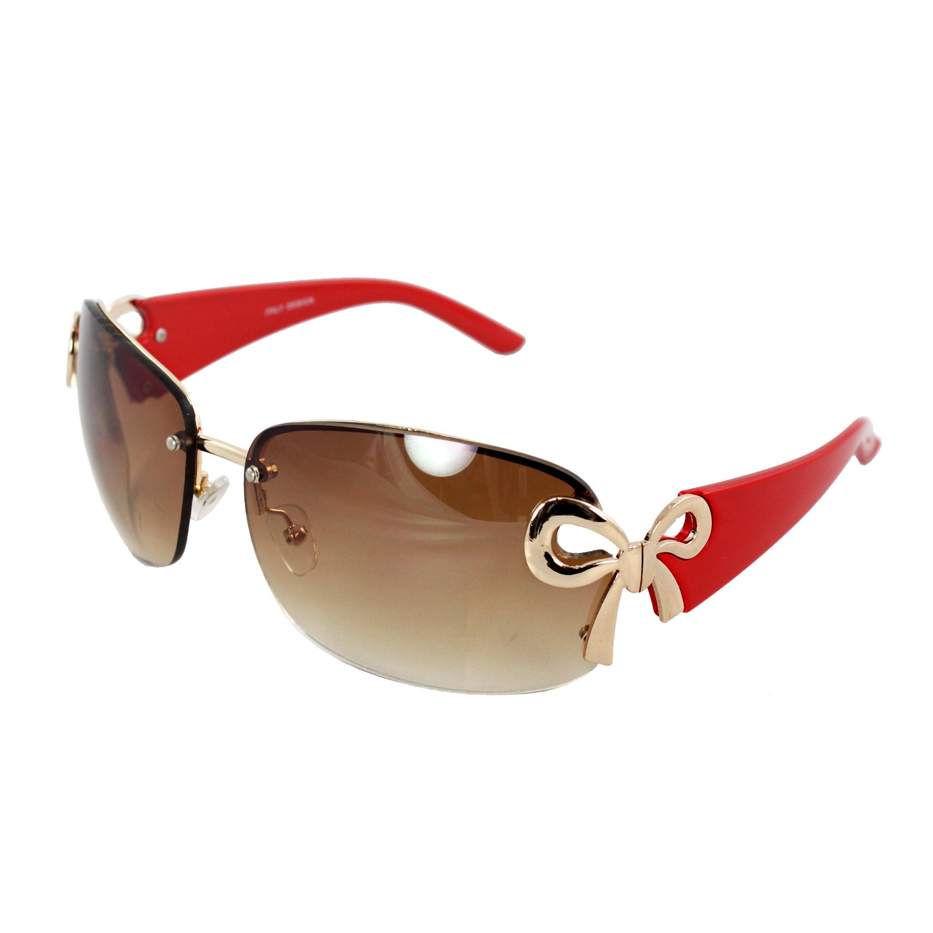 Rimless Red Frame Amber Lens Butterfly Sunglasses