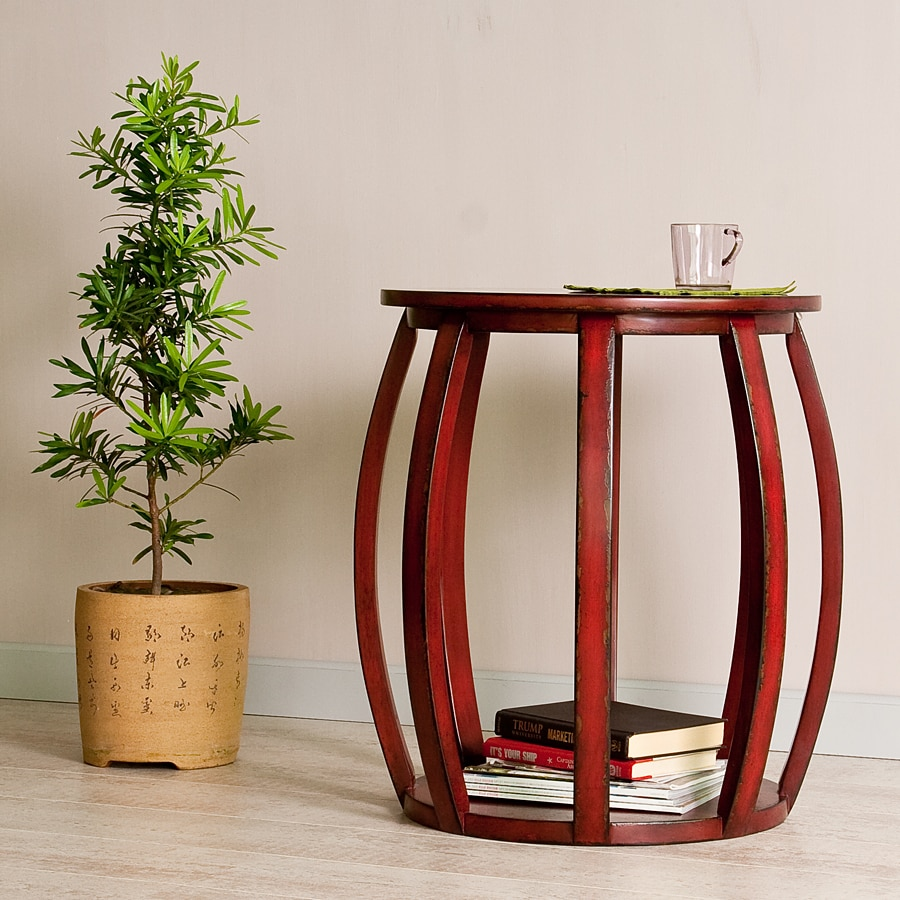 Red Wood Bird Cage End Table - Thumbnail 0