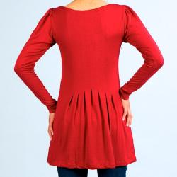 Think Knit Women's Red Pleated Long-sleeve Shirt