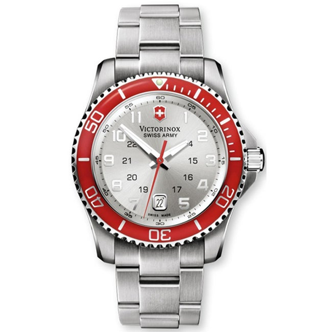 Victorinox Swiss Army Men's Maverick GS Red Bezel Stainless Bracelet Watch