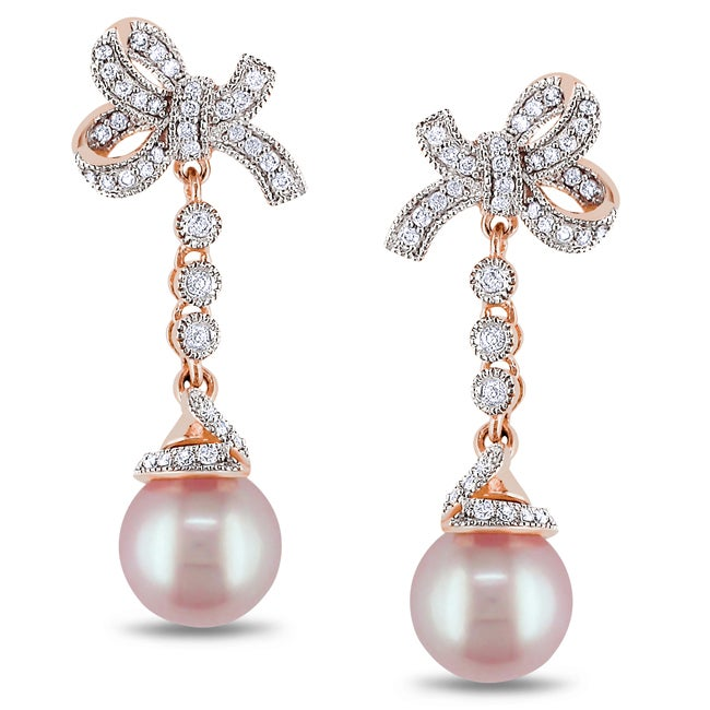 Miadora 14k Pink Gold FW Pearl and 1/3cct TDW Diamond Earrings (G-H, SI1-SI2)