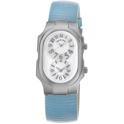 Philip Stein Women's 'Signature' Silver Dial Blue Leather Strap Watch