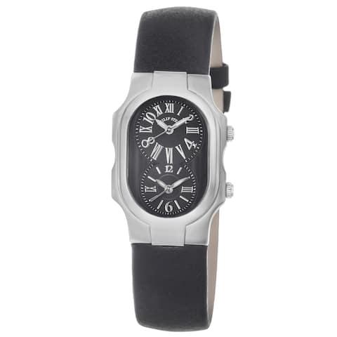 Philip Stein Women's 'Signature' Black Dial Black Leather Strap Watch