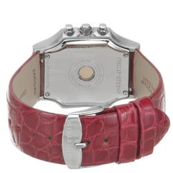 Philip Stein Women's 'Signature' Red Leather Strap Chronograph Watch - Thumbnail 1