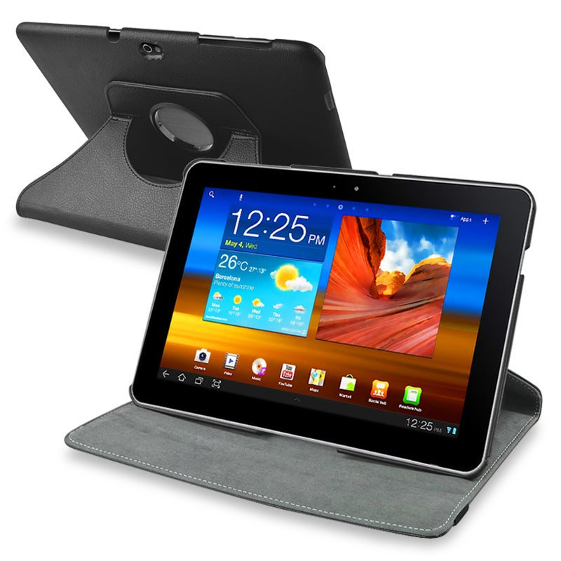 Black 360 Swivel Leather Case for Samsung Galaxy Tab 10.1 P750