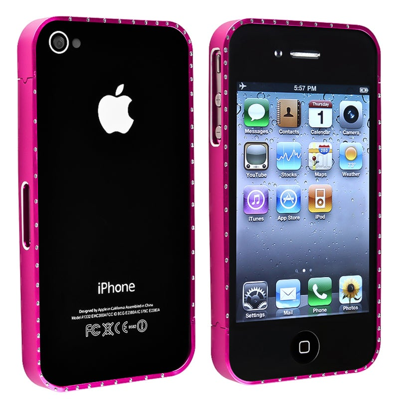 Hot Pink Bling Metal Bumper for Apple iPhone 4/ 4S - Thumbnail 0