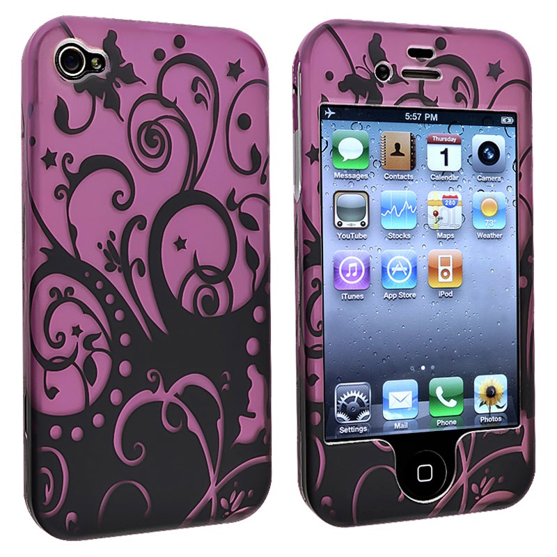 Purple/ Black Swirl Snap-on Case for Apple iPhone 4/ 4S