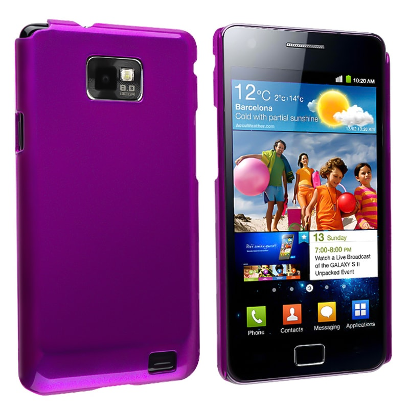 Purple Glossy Snap-on Rubber Coated Case for Samsung Galaxy S II i9100