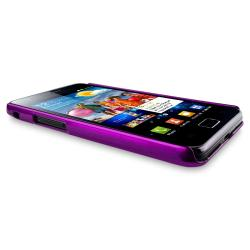 Purple Glossy Snap-on Rubber Coated Case for Samsung Galaxy S II i9100 - Thumbnail 1