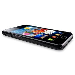 Black Glossy Snap-on Rubber Coated Case for Samsung Galaxy S II i9100 - Thumbnail 1