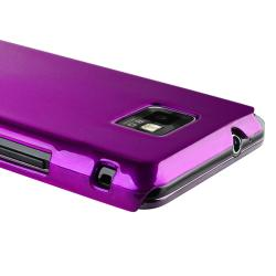 Purple Glossy Snap-on Rubber Coated Case for Samsung Galaxy S II i9100 - Thumbnail 2