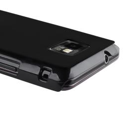 Black Glossy Snap-on Rubber Coated Case for Samsung Galaxy S II i9100 - Thumbnail 2