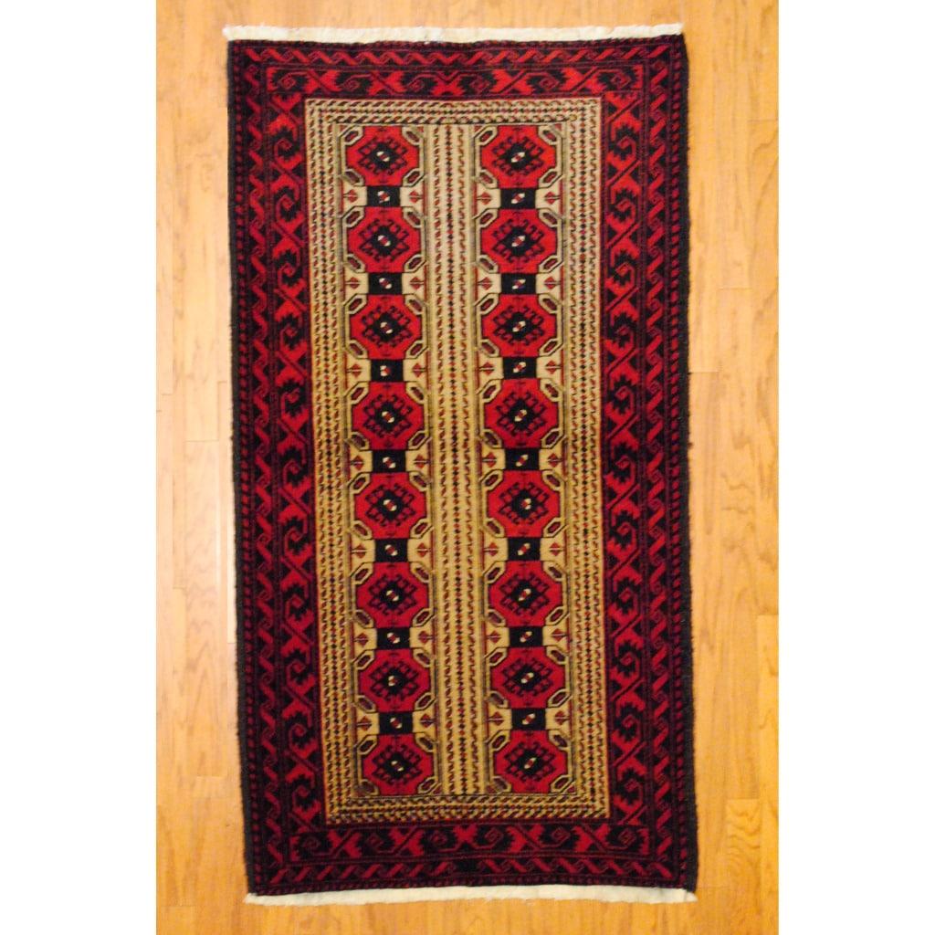 Persian Tribal Balouchi Camel/ Red Wool Rug (3'6 x 5'6)