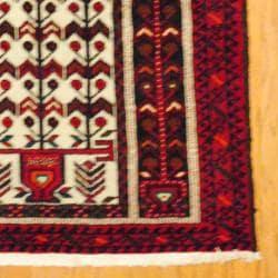 Persian Tribal Balouchi Ivory/ Red Wool Rug (3' x 6'1) - Thumbnail 2