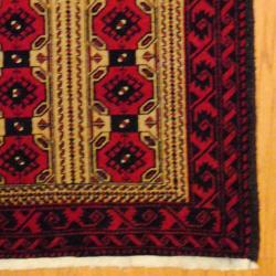 Persian Tribal Balouchi Camel/ Red Wool Rug (3'6 x 5'6) - Thumbnail 2