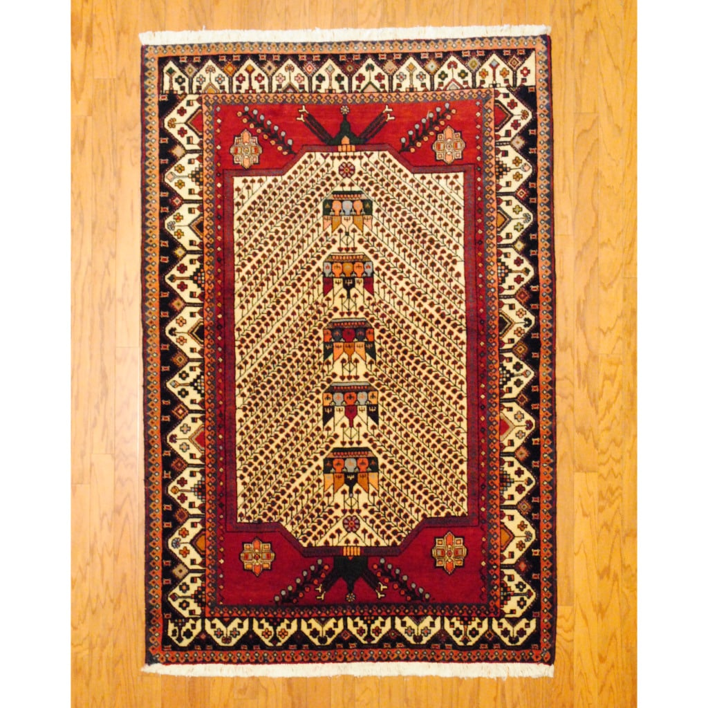 Persian Tribal Kurdish Ivory/ Red Wool Rug (4'3 x 6'8) - Thumbnail 0