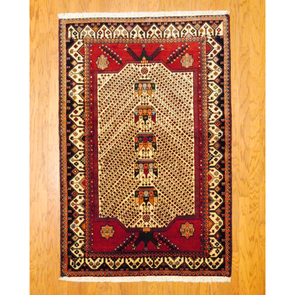 Persian Tribal Kurdish Ivory/ Red Wool Rug (4'3 x 6'8)
