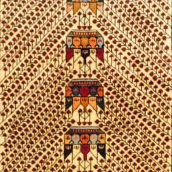 Persian Tribal Kurdish Ivory/ Red Wool Rug (4'3 x 6'8) - Thumbnail 1