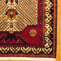 Persian Tribal Kurdish Ivory/ Red Wool Rug (4'3 x 6'8) - Thumbnail 2