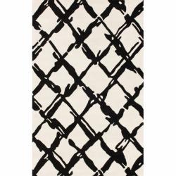 nuLOOM Handmade Moroccan Trellis Ivory Wool Rug (7'6 x 9'6)