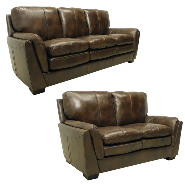 Mason White Leather Sofa: Mason Brown Italian Leather Sofa/ Loveseat Set