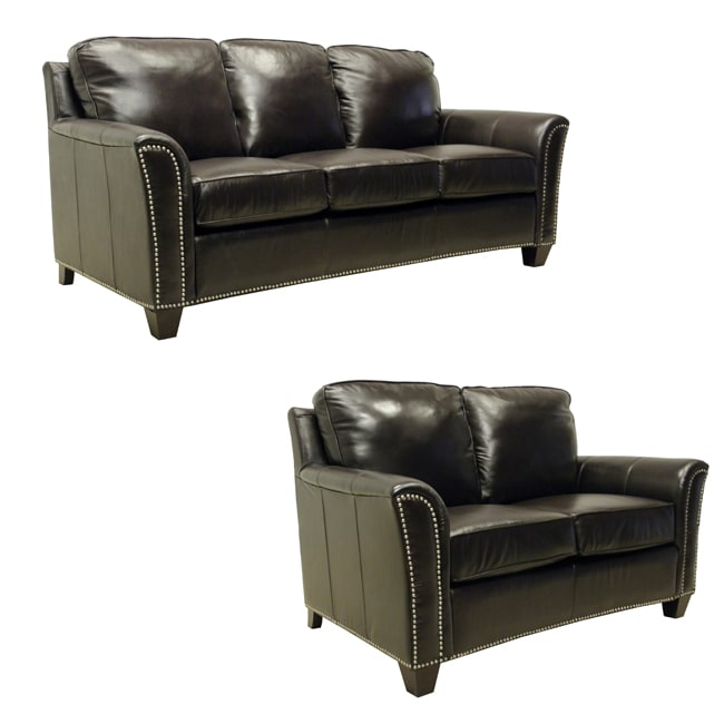 Excellent Lancaster Dark Brown Italian Leather Sofa Loveseat Set Unemploymentrelief Wooden Chair Designs For Living Room Unemploymentrelieforg