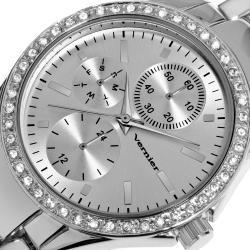 Vernier Women's Silver Tone Chrono Look Crystal Bezel Bracelet Watch