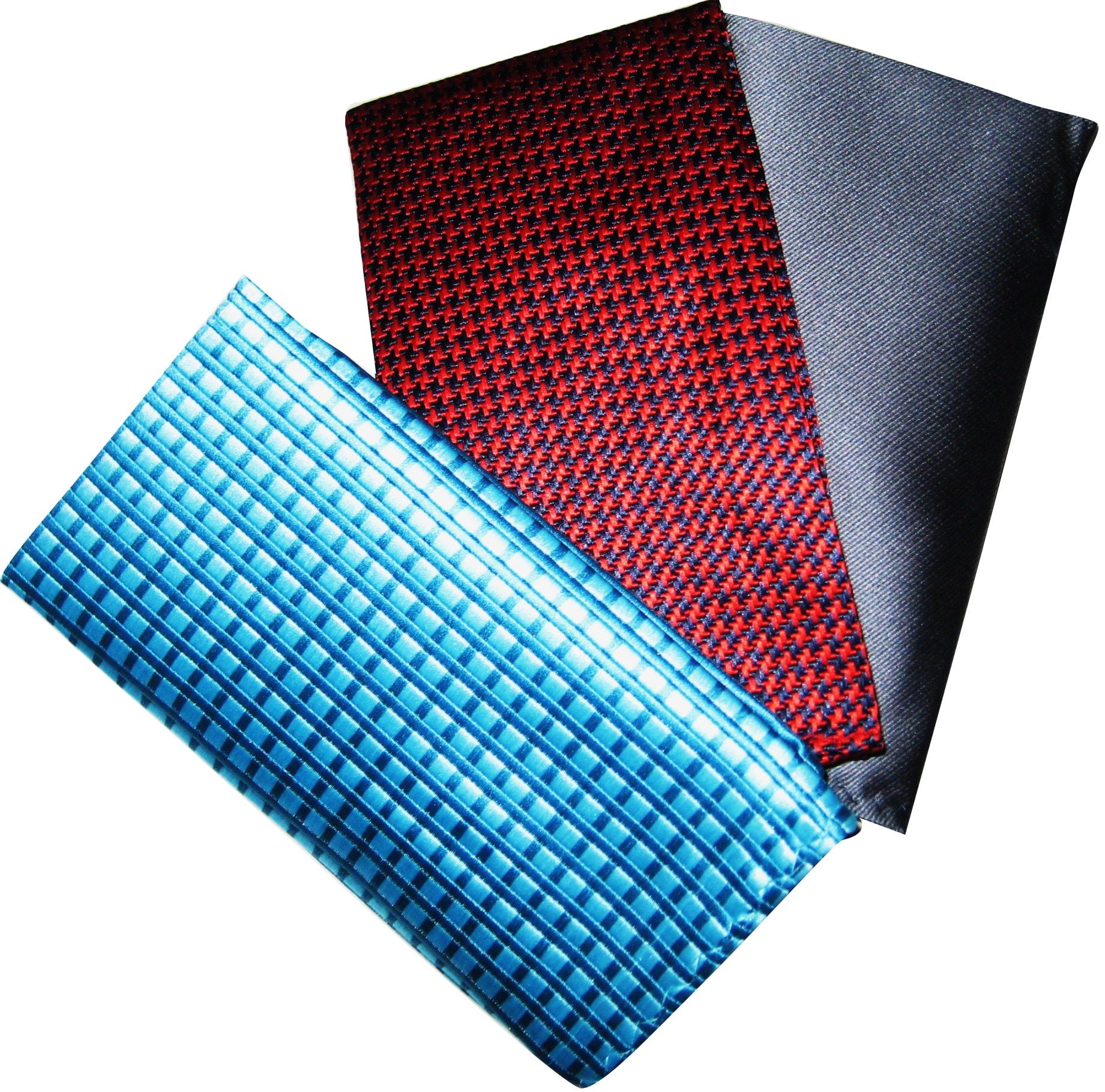 Dmitry Men's Italian Silk Pocket Squares (Pack of 3)