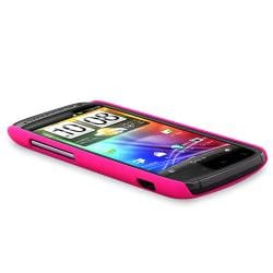 BasAcc Hot Pink Rear Snap-on Rubber Coated Case for HTC Sensation