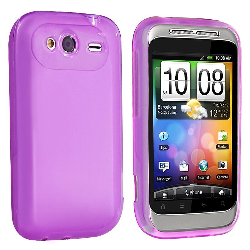 BasAcc Clear Dark Purple TPU Rubber Skin Case for HTC Wildfire S