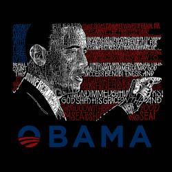 Los Angeles Pop Art Men's Barack Obama T-shirt - Thumbnail 1