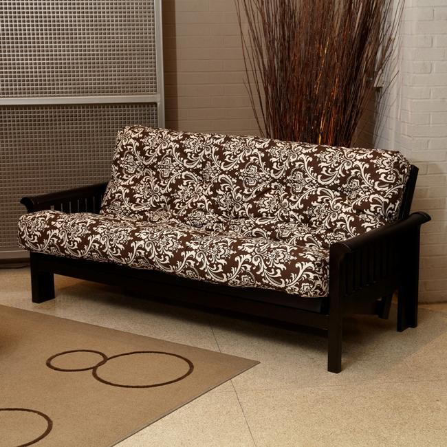 Brown Damask Full-size 8-inch Futon Mattress