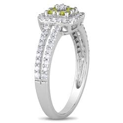 Miadora 14k White Gold 1/2ct TDW Yellow and White Diamond Halo Ring