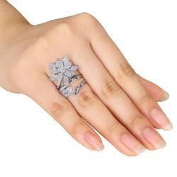 Miadora  14k White Gold 4/5ct TDW Diamond Flower Ring (G-H, SI1-SI2) - Thumbnail 2